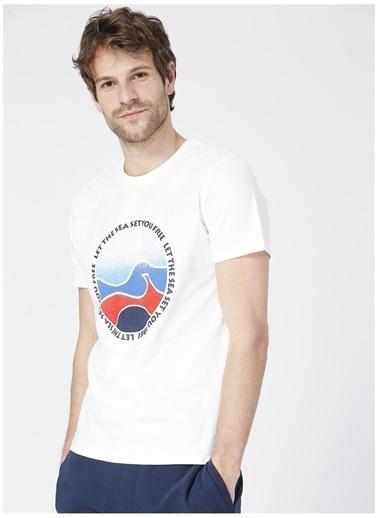 Limon Company Limon Bas Beyaz Bisiklwt Yaka Görsel Baskılı Erkek T-Shirt Beyaz